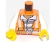 Part No: 973pb2605c01  Name: Torso Town Prisoner Shirt with Prison Stripes and Orange Vest with Dynamite and Matches on Back Pattern / White Arms / Yellow Hands
