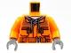 Part No: 973pb3379c01  Name: Torso Construction Jacket over Dark Gray Hooded Sweatshirt, Zipper Pockets, Brown Belt without Back Print Pattern (BAM) / Orange Arms / Dark Bluish Gray Hands