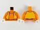 Part No: 973pb4067c01  Name: Torso Turtleneck with Bright Light Orange Vest Pattern / Orange Arms / White Hands