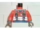 Part No: 973px177c01  Name: Torso Town Construction Brown Suspenders, Shirt, Safety Stripes Pattern / Orange Arms / Dark Gray Hands