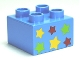 Part No: 3437pb043  Name: Duplo, Brick 2 x 2 with 6 Stars Pattern