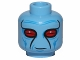 Part No: 3626cpb1476  Name: Minifigure, Head Alien with Narrow Red Eyes and Blue Wrinkles Pattern (SW Duros) - Hollow Stud