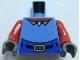 Part No: 973pb0412c01  Name: Torso SpongeBob with High Waist Blue Pants, Red Neck, Shirt Collar Pattern / Red Arms / Dark Bluish Gray Hands