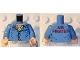 Part No: 973pb0456c01  Name: Torso Open Collar, Name Badge 'JOCK' and 'AIR PIRATES' on Reverse Pattern / Medium Blue Arms / Light Nougat Hands