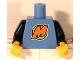 Part No: 973pb0642c01  Name: Torso Orange 'M' Pattern (LEGO Club Max) / Dark Blue Arms / Yellow Hands