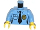 Part No: 973pb1617c01  Name: Torso Police Female Shirt with Gold Badge, Pocket and Black Tie Pattern / Medium Blue Arms / Yellow Hands