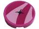 Part No: 14769pb413  Name: Tile, Round 2 x 2 with Bottom Stud Holder with Dark Pink Cushion and Black Button Pattern (Sticker) - Set 41444