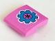 Part No: 15068pb327  Name: Slope, Curved 2 x 2 with Dark Azure Gear on Dark Pink Background Pattern (Sticker) - Set 41348