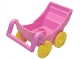 Part No: 2147c01  Name: Duplo Pram (Baby Carriage, Stroller) with Thin Yellow Wheels