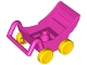 Part No: 2147c03  Name: Duplo Pram (Baby Carriage, Stroller) with Thick Yellow Wheels