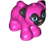 Part No: 24111pb03  Name: Dog, Friends, Pug, Standing with Black Face and Ears with Metallic Pink Nose and Dark Azure Eyes Pattern