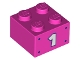 Part No: 3003pb124  Name: Brick 2 x 2 with White Number 1 and Dark Purple Dots Pattern on Both Sides