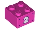 Part No: 3003pb125  Name: Brick 2 x 2 with White Number 2 and Dark Purple Dots Pattern on Both Sides