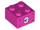 Part No: 3003pb126  Name: Brick 2 x 2 with White Number 3 and Dark Purple Dots Pattern on Both Sides