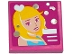 Part No: 3068bpb0915  Name: Tile 2 x 2 with Groove with Smiling Woman, White Heart and Silver Circles Pattern (Sticker) - Set 41093
