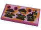 Part No: 87079pb0956  Name: Tile 2 x 4 with Menu with Black Number 2, 3 and 5, Sandwiches and Smoothie on Bright Light Orange and Bright Pink Background Pattern (Sticker) - Set 41444