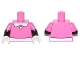 Part No: 973pb2325c01  Name: Torso White Collar, 1 White Button, and White Belt Front and Back Pattern / Black Arms with Dark Pink Short Sleeves Pattern / White Hands
