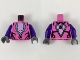 Part No: 973pb3387c01  Name: Torso Female Bright Pink Chest with Silver and Black Trim Pattern / Dark Purple Arms / Dark Bluish Gray Hands