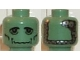 Part No: 3626bpb0042  Name: Minifigure, Head Alien with Frankenstein Monster Pattern - Blocked Open Stud