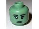Part No: 3626bpb0675  Name: Minifigure, Head Female Black Eyebrows, Eyelashes, White Pupils, Dark Green Lips Pattern - Blocked Open Stud (Statue of Liberty)