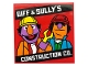 Part No: 10202pb020  Name: Tile 6 x 6 with Bottom Tubes with 'BIFF & SULLY'S CONSTRUCTION CO.' Pattern (Sticker) - Set 21324