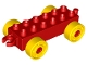 Part No: 11248c01  Name: Duplo Car Base 2 x 6 with Yellow Wheels with Fake Bolts and Open Hitch End