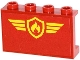Part No: 14718pb001  Name: Panel 1 x 4 x 2 with Side Supports - Hollow Studs with Yellow and Red Fire Logo Badge and Yellow Stripes Pattern (Sticker) - Set 60061