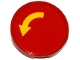 Part No: 14769pb064  Name: Tile, Round 2 x 2 with Bottom Stud Holder with Yellow Curved Arrow on Red Background Pattern (Sticker) - Set 60075