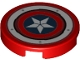 Part No: 14769pb369  Name: Tile, Round 2 x 2 with Bottom Stud Holder with Captain America Star Shield and Rivets Pattern