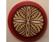 Part No: 14769pb393  Name: Tile, Round 2 x 2 with Bottom Stud Holder with Dark Red, Tan and White Hawaiian Tribal Pattern (Sticker) - Set 41149