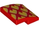 Part No: 15068pb161L  Name: Slope, Curved 2 x 2 with Metallic Gold and Orange Dragon Scales, Pointed Left Pattern