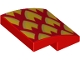 Part No: 15068pb161R  Name: Slope, Curved 2 x 2 with Metallic Gold and Orange Dragon Scales, Pointed Right Pattern