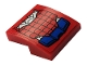 Part No: 15068pb285  Name: Slope, Curved 2 x 2 with Blue and Silver Spider-Man Mech Leg Armor with Web Pattern (Sticker) - Set 76146