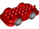 Part No: 15314c02  Name: Duplo Car Base 4 x 8 with Four Black Wheels and Light Bluish Gray Hubs