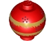 Part No: 20953pb03  Name: Brick, Round 2 x 2 Sphere with Stud / Robot Body with Dragon Dance Pearl, Metallic Gold Fringe and Dark Red Dots Pattern