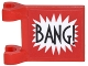 Part No: 2335pb164  Name: Flag 2 x 2 Square with 'BANG!' Large Font and White Starburst Explosion Vertical Pattern on Both Sides (Stickers) - Set 70906