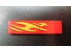 Part No: 2431pb124L  Name: Tile 1 x 4 with Yellow Flames Pattern Model Front Left (Sticker) - Set 8667