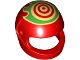 Part No: 2446pb44  Name: Minifigure, Headgear Helmet Standard with Red Target and Green Flames Pattern