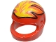 Part No: 2446px9  Name: Minifigure, Headgear Helmet Standard with Flames Yellow and Orange Pattern