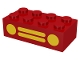 Part No: 3001p11  Name: Brick 2 x 4 with Car Grille and Headlights (2 Circles, 2 Lines) Yellow Pattern