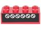 Part No: 3001pb028  Name: Brick 2 x 4 with 6 White Circles with Diagonals on Black Pattern (Sticker) - Set 6382