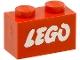 Part No: 3004pb052  Name: Brick 1 x 2 with Lego Logo Open O Style White without Black Outline Pattern (Samsonite)