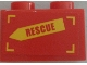 Part No: 3004pb157L  Name: Brick 1 x 2 with 'RESCUE' on Yellow Arrow Pattern Model Left Side (Sticker) - Set 60010
