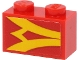 Part No: 3004pb234L  Name: Brick 1 x 2 with Yellow Stripes on Red Background Pattern Model Left Side (Sticker) - Set 40450