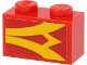 Part No: 3004pb234R  Name: Brick 1 x 2 with Yellow Stripes on Red Background Pattern Model Right Side (Sticker) - Set 40450