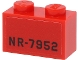 Part No: 3004pb235  Name: Brick 1 x 2 with Black 'NR-7952' Pattern on Both Sides (Stickers) - Set 40450