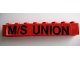 Part No: 3008pb093  Name: Brick 1 x 8 with Black 'M/S UNION' Pattern (Sticker) - Set 364