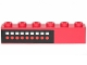 Part No: 3009pb145  Name: Brick 1 x 6 with 9 Red Dots, 9 White Squares on Black Background Pattern (Sticker) - Set 6382