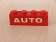 Part No: 3010pb062  Name: Brick 1 x 4 with White 'AUTO' Text on Red Background Pattern (Sticker) - Set 646