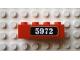 Part No: 3010pb095  Name: Brick 1 x 4 with White '5972' on Black Pattern (Sticker) - Set 10132